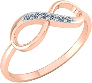 Perrian 18K Multi-Toned White Gold & Rose Gold 0.06 Carat Round (SI2 Clarity, GH Color) Diamond Ring for Women