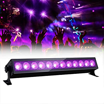 GLIME UV LED Light Bar 36W Ultraviolet Black Light 12 LEDs 360° Adjustable Wall Lights for DJ Stage Lighting Glow Party Body Paint Halloween
