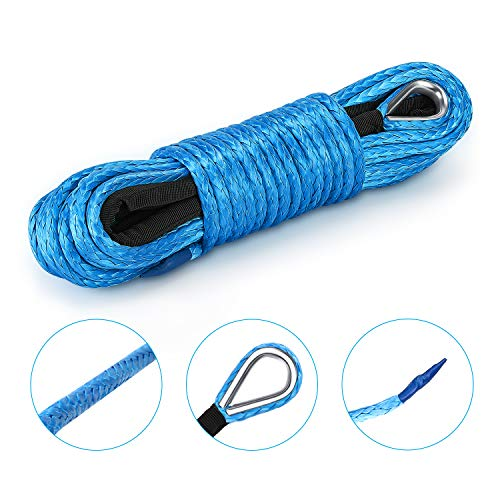 QIQU 1//4 50ft Winch Rope Extension,Synthetic Winch Rope,Winch Cable,ATV Winch Line with Thimbles Blue