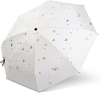 ZYSWP Portable Outdoor Sunscreen Rainproof Sunshade Anti Ultraviolet Windproof Tri Fold Umbrella (Color : White)