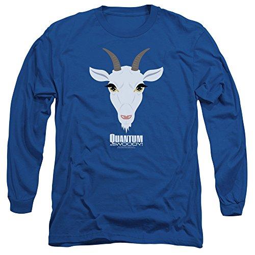 Quantum And Woody - T-shirt de chèvre Head Hommes manches longues, XX-Large, Royal Blue