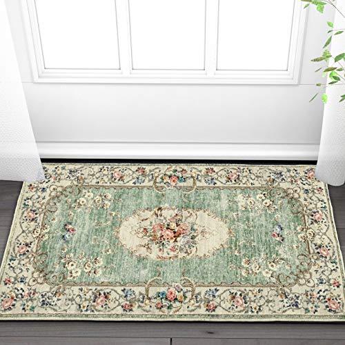 Taleta Greenish Fußmatte Blumen Orientalisch Weich Vintage Kurzflor Wohnzimmer Grün Größe:50 x 80 cm