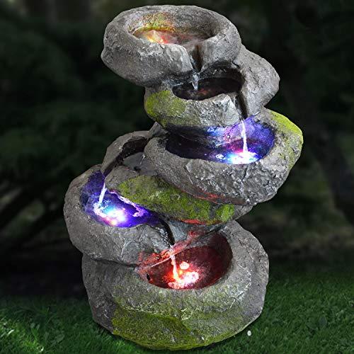AMUR GARTENBRUNNEN BRUNNEN ZIERBRUNNEN VOGELBAD Wasserfall VOGELTRÄNKE GARTENLEUCHTE TEICHPUMPE GARTENDEKO, FELS-Kaskade geschwungen mit Pumpe und 4 RGB LED-Licht-230V