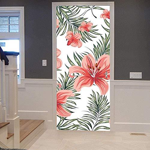 Etiqueta Engomada Etiqueta Puerta 3D Autoadhesivo Papel Pintado Puerta Extraíble de Mural Acrílico Impermeable Decoración Cocina Baño,Día de la Madre77x200cm Flores floreciendo