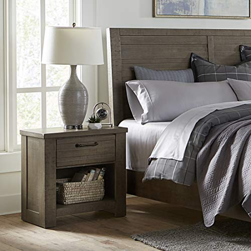 Roundhill Furniture Sedona Transitional Wood Drawer Nightstand, Gray