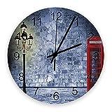 Decoración moderna de reloj de pared, lámpara de calle de cabina telefónica de Londres, relojes de pared grandes (silenciosos) para sala de estar / baño / cocina, con pilas, interior, exterior, madera