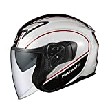 オージーケーカブト(OGK KABUTO)バイクヘルメット ジェット EXCEED DELIE(デリエ) ホワイトブラック (サイズ:L) 577094