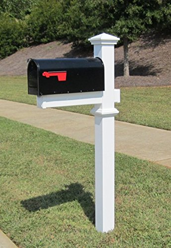 4Ever Products The Winthrop White Vinyl/PVC Mailbox Post (Includes Mailbox)