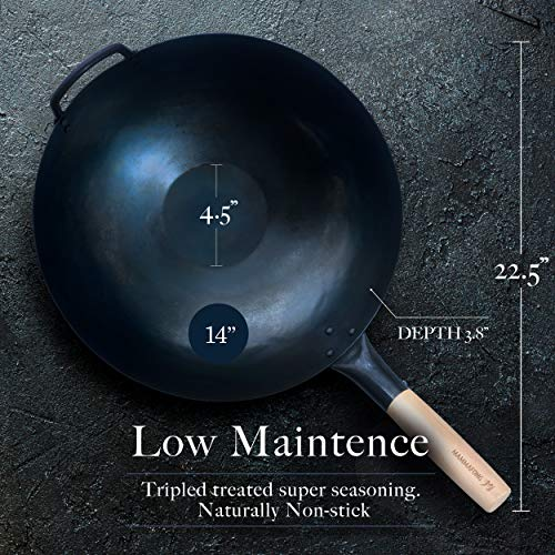 Product Image 3: Pre Seasoned Blue Carbon Steel Flat Bottom Wok -14 Inch Chinese Pow Wok – Traditionally Hand Hammered Woks and Stir Fry Pans by Mammafong