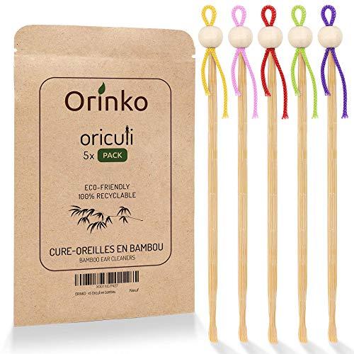 ORINKO - Oriculi en Bambou 5x - Cure Oreille Écologique et Réutilisable pour Remplacement Coton Tige - Zéro Déchet