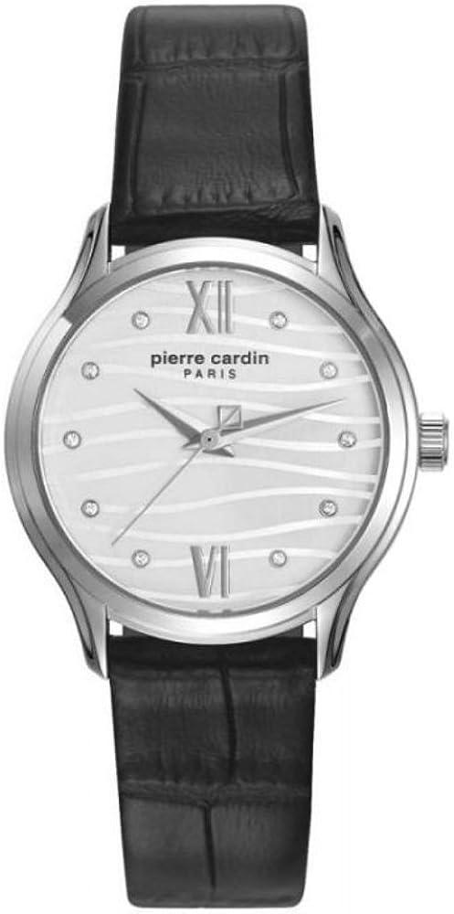 pierre cardin,orologio per donna,in acciaio inossidabile e cinturino in vera pelle al 100% pc108162f08