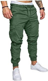 Odoukey Pantaloni della Tuta Uomo Coulisse Pantaloni Tuta bei Streetwear i Pantaloni Multi-Tasca dei Pantaloni da Jogging