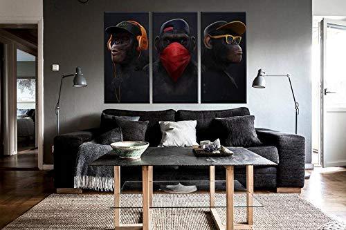 DDSDA 3 Teile Leinwand-Bild 3x50x70cm (Gesamt 150x70cm) DREI weise Affen Wandbilder,Kunstdruck,Wohnzimmer Dekor,Kreatives Geschenk 3 Teiliges Leinwand Bild Frames