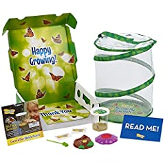 5 baby caterpillars and nutritious food Pop-up reusable 12 inch tall mesh habitat Deluxe Chrysalis station log Flower-shaped butterfly feeder Important NOTE! Please postpone your live order if daytime temperatures in your area are below 55 degrees or...