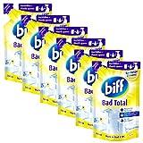 Biff Bad Total Spritzige Zitrone, Badreiniger, 6 x 250 ml, Nachfüllpack, für alle Oberflächen und hygienische Sauberkeit