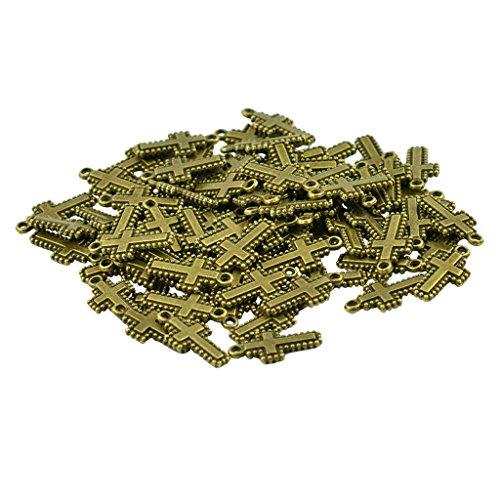 dailymall 50 piezas 20 mm bronce antiguo Cristiano punto cruz colgantes joyas DIY