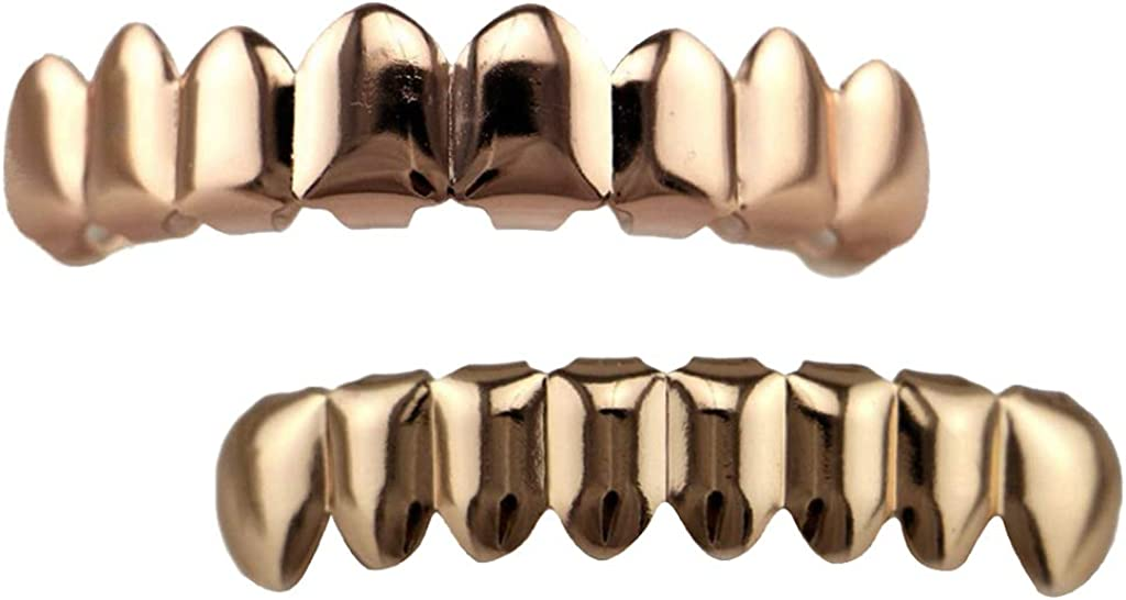 Colcolo 6pcs 18K Hip-Hop Top/Bottom Mouth Teeth Grills Unisex Rose Gold Grills