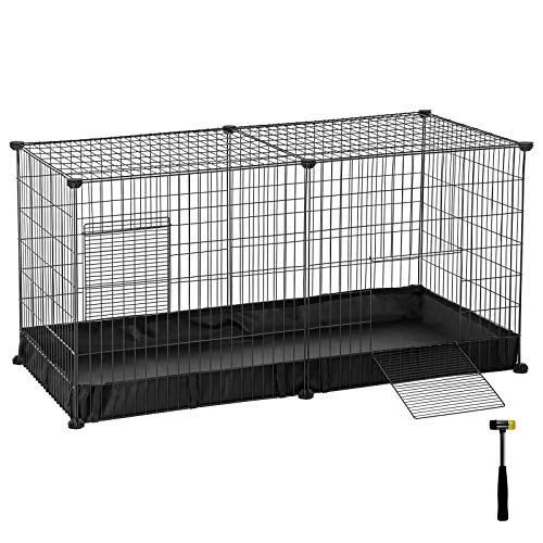 SONGMICS Small Animal Cage, Large Indoor Playpen and Enclosure with Oxford Mat