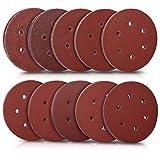 Navaris Set de 50x papel de lija - Papeles de lija para lijadora excéntrica de 150 MM - 5 unidades de P40 P60 P80 P100 P120 P180 P240 P280 P320 P400