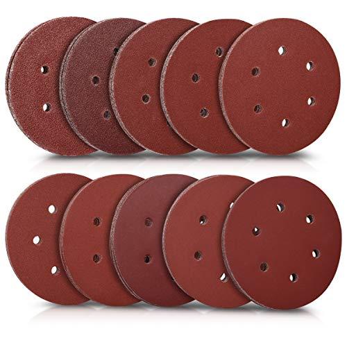 Navaris Dischi abrasivi 150mm 50 pezzi - 5x P40/60/80/100/120/180/240/280/320/400 - carta abrasiva legno metallo - universale per levigatrice Ø150mm