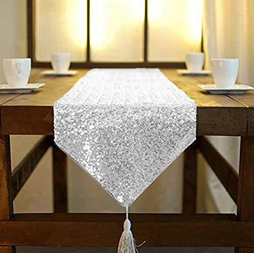 ShinyBeauty Tassel Silver Sequin Dresser Scarves or Table Runner, 12x72 Inch Elegant Wedding Event Decoration