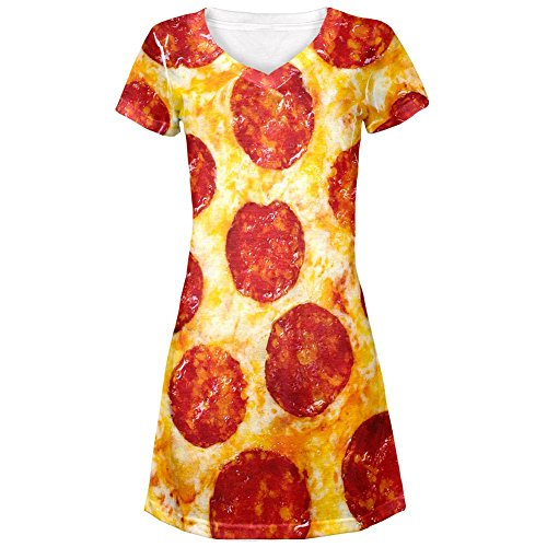 Pepperoni Pizza Costume All Over Juniors Cover-Up Beach Dress - Small