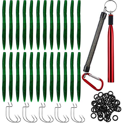24 Pieces PVC Artificial Worms Fishing Lure for Bass, 50 Pieces O-Rings for Wacky Rigging Stick Soft Baits, 10 Pieces Strong Fishing Circle Hooks Size 1/0, 2/0, 3/0, 4/0, 5/0 and 1 Wacky Worm Rig Tool