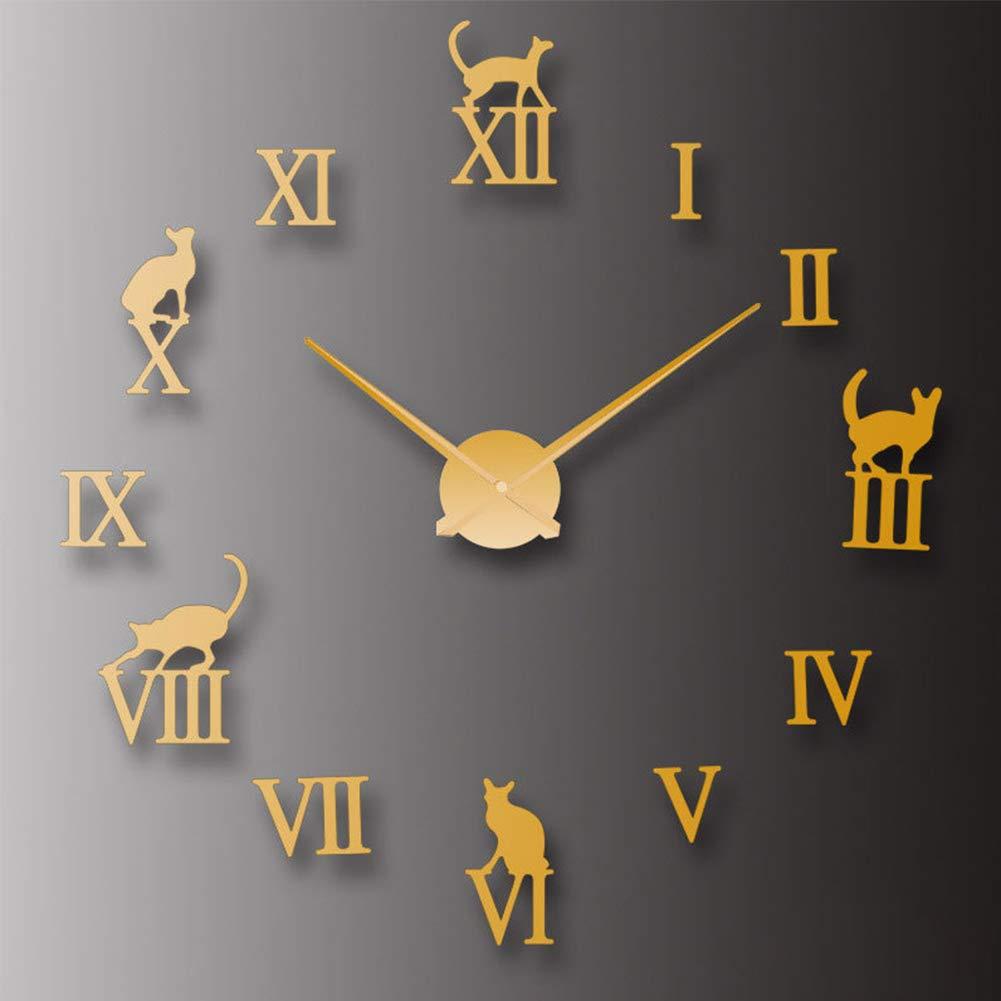 Números Romanos DIY Reloj de Pared Etiqueta de Reloj de Pared Gato Sala de Estar en casa acrílico Tendencia para Sala de Estar, Cocina,Acrilico,Gold: Amazon.es: Hogar