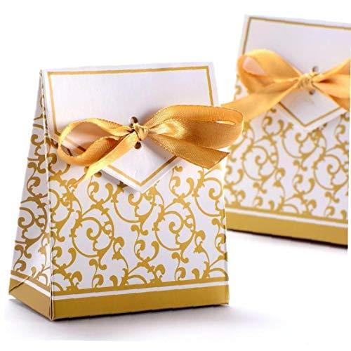 Caramelo Contenedor Caja De Dulces Con Alambre De Oro Para Matrimonio 100pcs