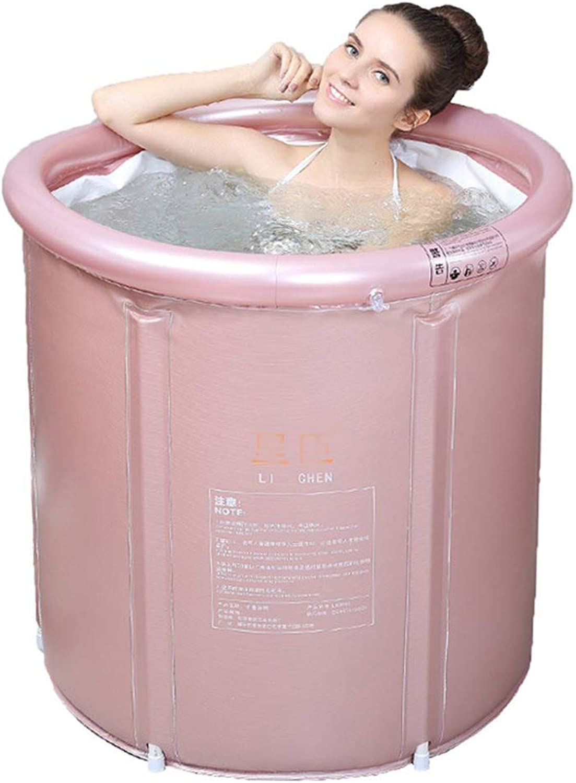 ZQ Adult Folding SPA Bathtub, Portable Rectangle Plastic Bathtub, household bathtub, Quality Deep Soaking Tub with Drain, Kids Anti-slippery Swimming Pool-Pink-XL