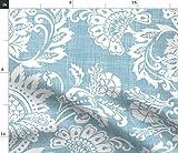 Spoonflower Stoff – Damast weiß blau Blätter Floral