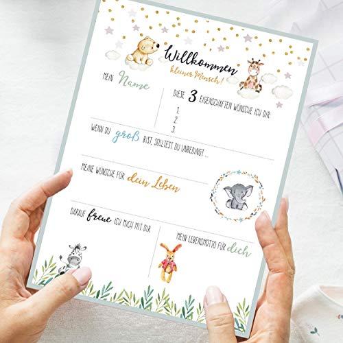 10 Gästebuch-Karten zur Taufe/Babyparty/Baby-Shower/Babybox/Greenery-Stil/als Geschenk zur Geburt/zum Ausfüllen mit Ratschlägen und Wünschen fürs Neugeborene