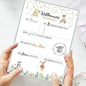 10 Gästebuch-Karten zur Taufe/Babyparty/Baby-Shower/Babybox/Greenery-Stil/als Geschenk zur Geburt/zum Ausfüllen mit…