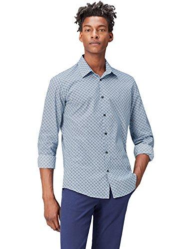 find. Camisa Estampada para Hombre, Azul (Navy), Small
