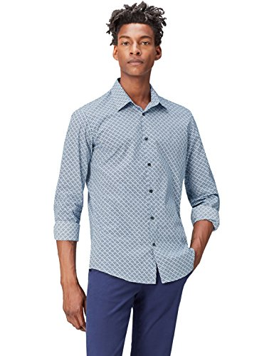 FIND Camisa Estampada para Hombre, Azul (Navy), Medium
