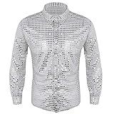 TiaoBug Herren Longsleeve Langarmshirt Hemd mit Kentkragen Pailletten Hemd 70er 80er Disco Shirt Glänzend Bluse Party Hippy Kostüm Outfit Clubwear M L XL Silber XL(Brust 122cm)
