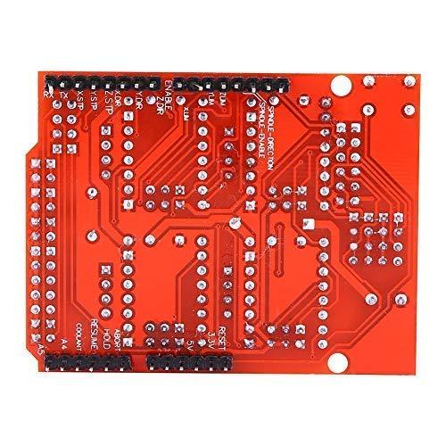 Liineparalle Placa de expansión CNC Shield V3 + 4 Piezas Módulos de Controlador de Motor Paso a Paso A4988 con disipador térmico para Impresora 3D Arduino V3 Engraver