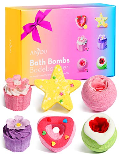 Anjou Bath Bombs Gift Set, 6pcs Natural Essential Oil Aroma Bubble Bath, Fizzy Spa for Moisturizing Skin, Organic Bath Bombs, Christmas & Birthday Gift Kit Ideas for Girls Women Moms Kids