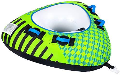 MESLE Tube Delta 56\'\', 1 Person, Towable Fun-Tube, aufblasbarer Schlepp-Reifen zum Ziehen, für Kinder & Erwachsene, Inflatable Wasser-Ski Schlepp-Ring, Motor-Boot & Jet-Ski, Farbe:grün