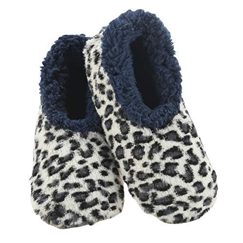 Snoozies Damen-Hausschuh-Socken – gemütliche Hausschuhe für Frauen – flauschige Hausschuhe für den Innenbereich – weiche Sohle – Tierfell, Blau (Blauer Leopard), Large