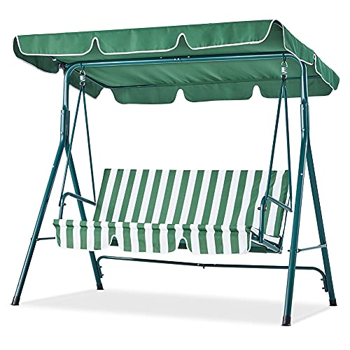 Canopy Porch Swing Chair, 3 Seat Adjustable Patio...