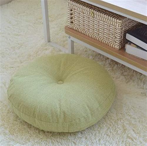 Forma Redonda de algodón Cojín de Asiento de Lino de Seda Core de algodón Tatami Almohada Almohada Decoración del hogar Sofá Sofá Sofá Cojín (Color : Green, Specification : 45x45cm)