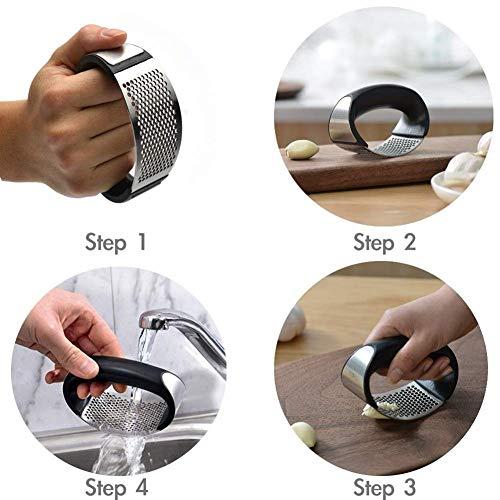 Stainless Steel Garlic Press Rocker Garlic Crusher Squeezer Slicer Mincer Chopper Kitchen Gadget with Handle