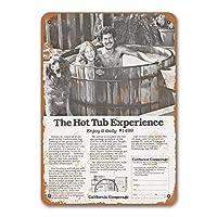 1978年カリフォルニアの温水浴槽の看板、金属製の壁のポスターブリキの看板ヴィンテージホームキッチンカフェショップバーベキューレストランの装飾8x12インチ