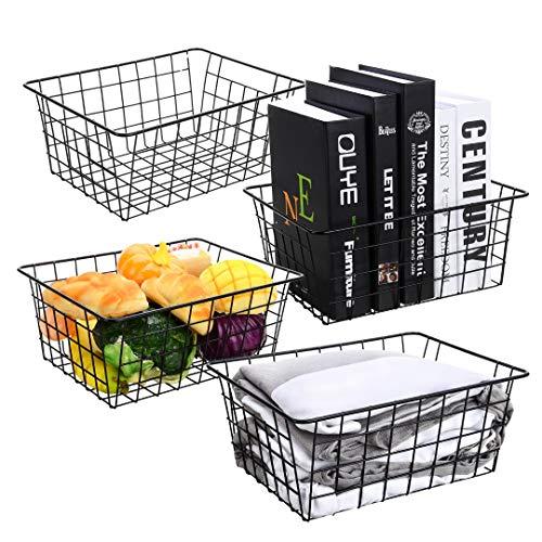 AXABING 4PCS Wire Storage Baskets,Metal Basket for Pantry Organizer Storage, Metal Wire Basket Suitable for Home,Office,Kitchen,Bathroom Storage