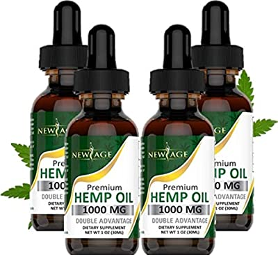 (4-Pack) Hemp Oil Extract for Pain, Anxiety & Stress Relief - 1000mg of Organic Hemp Extract - Grown & Made in USA - 100% Natural Hemp Drops - Helps with Sleep, Skin & Hair from New Age