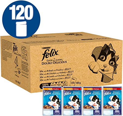 Felix As Good As It Looks Doubly Delicious Cat Food, 100 g, 120 Unidades