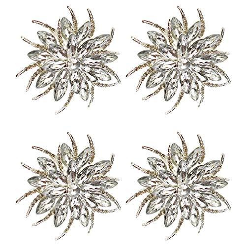 TOYANDONA 4pcs Christmas Crystal Rhinestone Poinsettias Napkin Rings Serviette Rings Napkin Holders Christmas Dinner Table Decorations