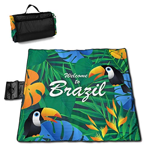 Nonebrand - Manta de pícnic con fondo exótico de Brasil, lavable, plegable, impermeable, para picnic, camping, playa, tamaño grande de 57 x 59 pulgadas
