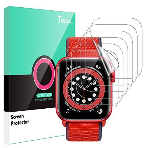 TOCOL 6 Stück Schutzfolie kompatibel mit Apple Watch Series 6 SE 5 4 40mm Klar HD Weich TPU Folie Nicht Glas Blasenfreie Kompatibel mit Hülle Displayschutz Apple Watch 40mm